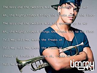 Il testo di Freaks con Timmy Trumpet sullo sfondo