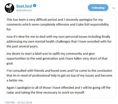 Il Tweet del ritiro di Deadmau5